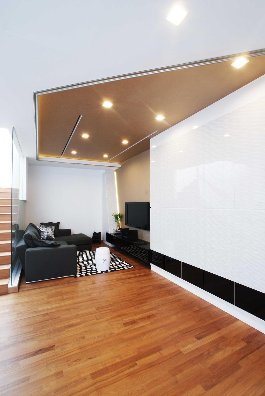 Modern, Landed, Living Room, Jalan Seaview, Interior Designer, Metamorph Design, Parquet, Wooden Flooring, White Laminate