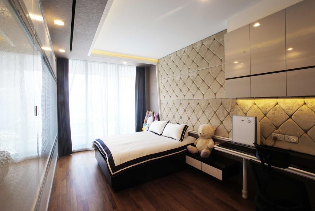Modern, Landed, Bedroom, Jalan Seaview, Interior Designer, Metamorph Design, Headboard, Laminate, Curtain, Parquet, Wooden Flooring, Concealed Lighting, Cove Light, Indoors, Interior Design