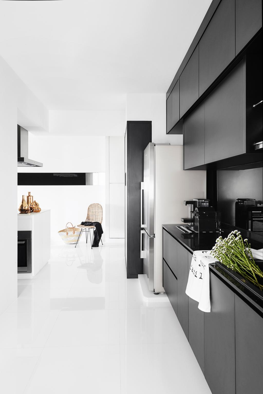 Modern, HDB, Living Room, Edgefield Plains, Interior Designer, Dan's Workshop, Scandinavian, Knobless, Black Cabinets, Kitchen Cabinets, Open Concept, Open Kitchen, Monochrome, Black And White, Flora, Jar, Plant, Potted Plant, Pottery, Vase, Appliance, Electrical Device, Oven, Collage, Poster