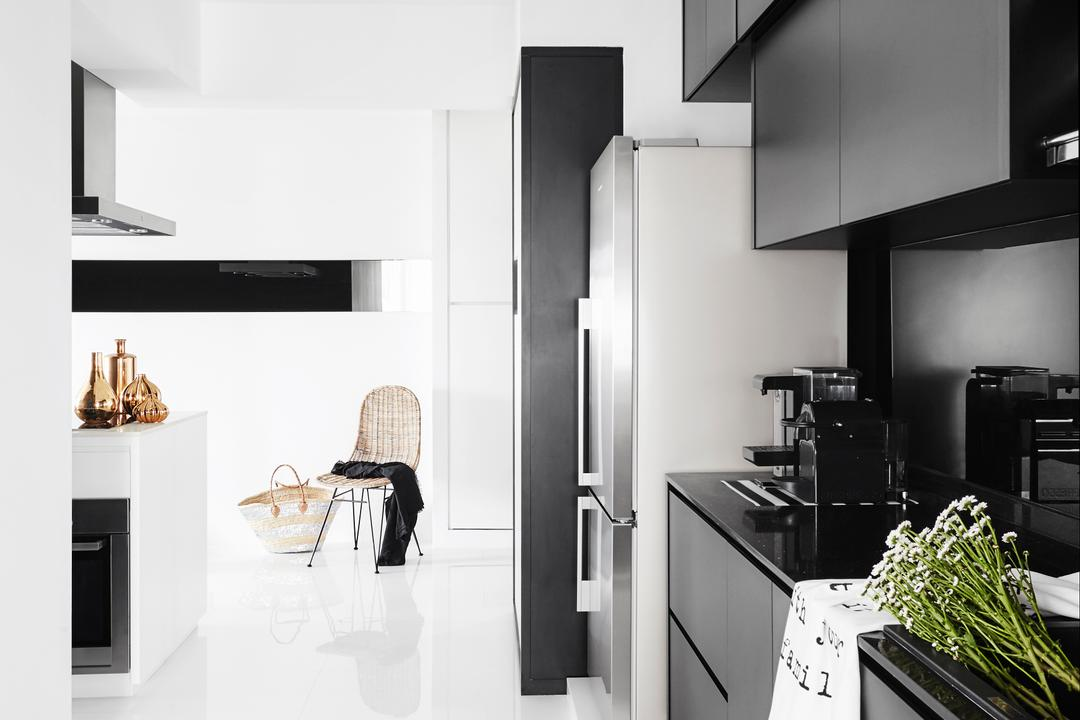 Edgefield Plains, Dan's Workshop, Modern, Scandinavian, Living Room, HDB, Knobless, Black Cabinets, Kitchen Cabinets, Open Concept, Open Kitchen, Monochrome, Black And White, Flora, Jar, Plant, Potted Plant, Pottery, Vase, Appliance, Electrical Device, Oven, Collage, Poster