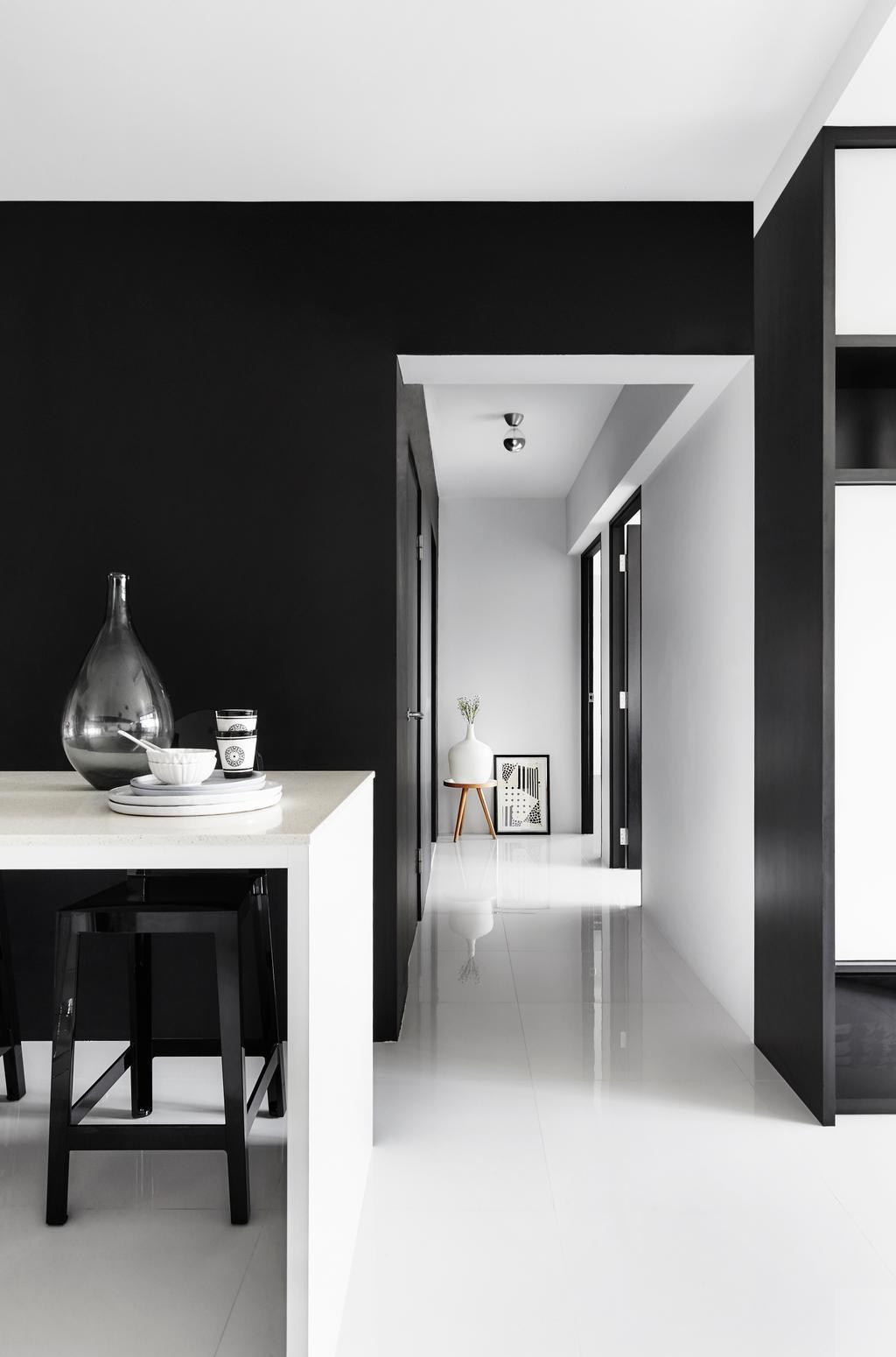 Modern, HDB, Living Room, Edgefield Plains, Interior Designer, Dan's Workshop, Scandinavian, Black Walls, Corridor, Hallway, Walkway, Dining Table, Shelf