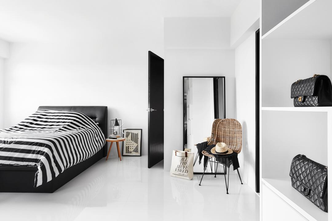 Edgefield Plains, Dan's Workshop, Modern, Scandinavian, Bedroom, HDB, Monochrome, Pinterest Worthy, Chair, Arm Chair, Standing Mirror, Side Table, Bag Display, Wardrobe, Spacious, Bright And Airy, Black And White, Bed, Furniture, Mirror
