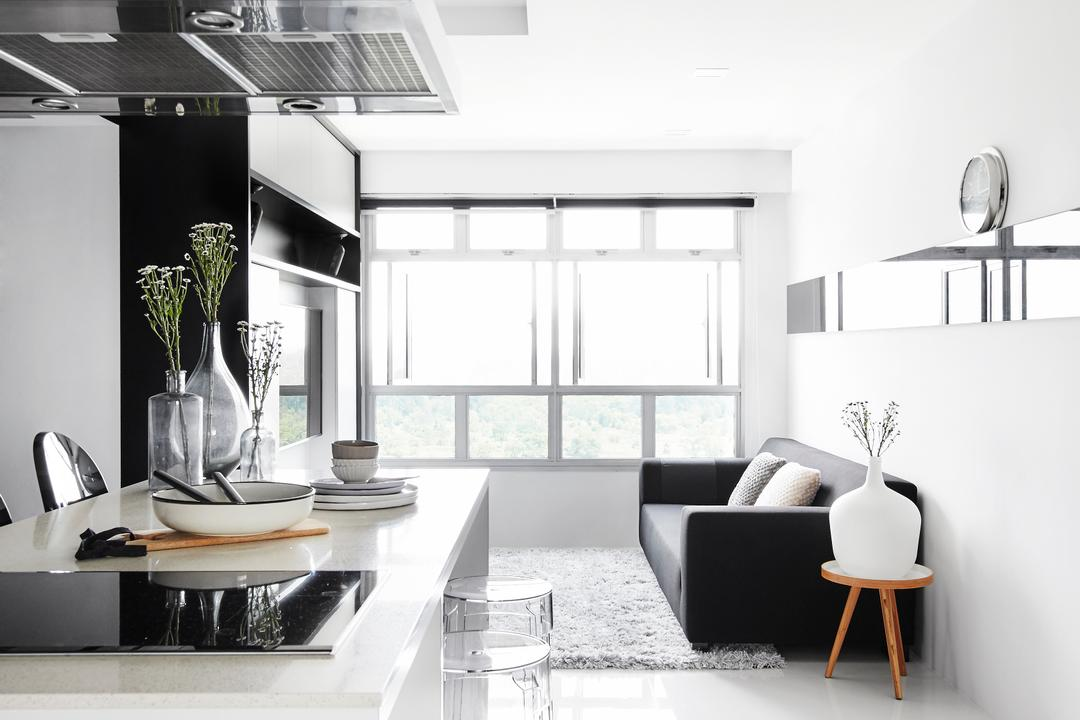 Edgefield Plains, Dan's Workshop, Modern, Scandinavian, Living Room, HDB, Monochrome, Pinterest Worthy, Open Concept, Bright, Black And White, White And Black, Kitchen Island, Open Kitchen, Chair, Furniture, Appliance, Electrical Device, Oven