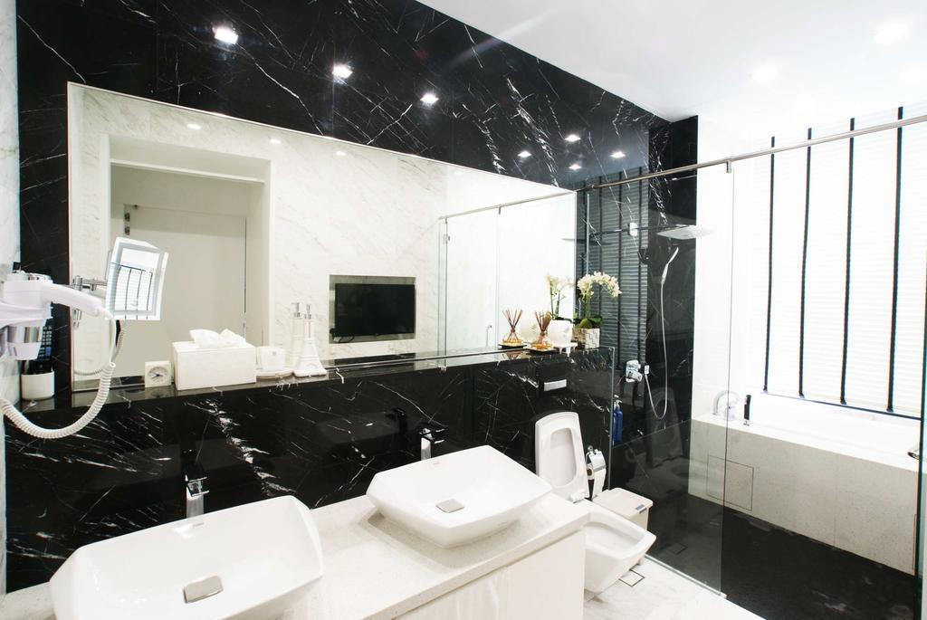 Modern, Landed, Bathroom, Jalan Seaview, Interior Designer, Metamorph Design, Marble Tiles, Marble Tiling, Double Sink, White Laminate
