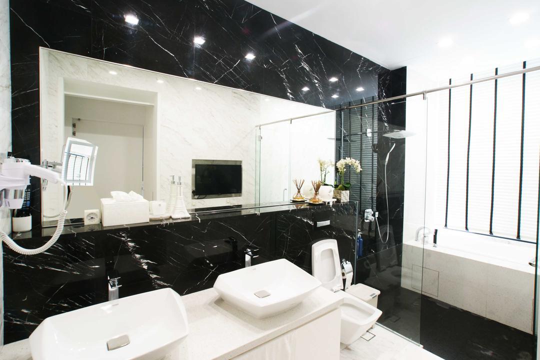 Jalan Seaview, Metamorph Design, Modern, Bathroom, Landed, Marble Tiles, Marble Tiling, Double Sink, White Laminate