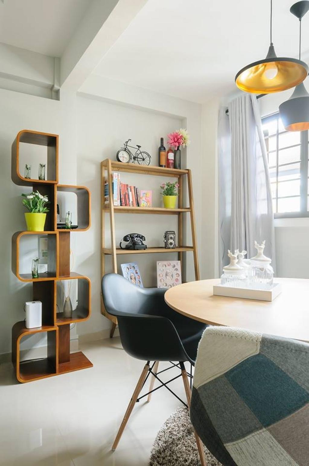 Modern, HDB, Living Room, Jurong West, Interior Designer, Starry Homestead, Display Shelf, Wood Laminate, Display Cabinet, Hanging Light, Flora, Jar, Plant, Potted Plant, Pottery, Vase, Chair, Furniture, Mirror, Shelf