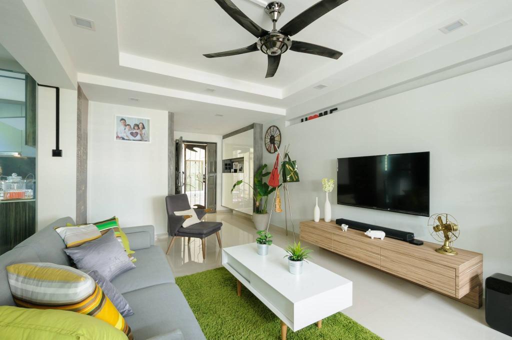 Modern, HDB, Living Room, Jurong West, Interior Designer, Starry Homestead, Grass Carpet, Wood Laminate, Console, Indoors, Room