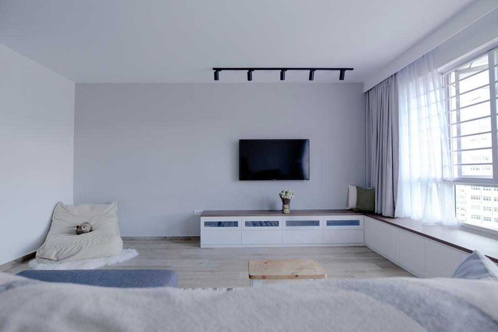 Scandinavian, HDB, Living Room, Upper Serangoon Crescent, Interior Designer, The Local INN.terior 新家室, Minimalistic, Spacious, Cozy, , Wall Mounted Television, Relax, Relaxation, White Cabinets, Wooden Top, Track Lights, Single Sofa, Sling Curtains, Window Panels, Bedroom, Indoors, Interior Design, Room