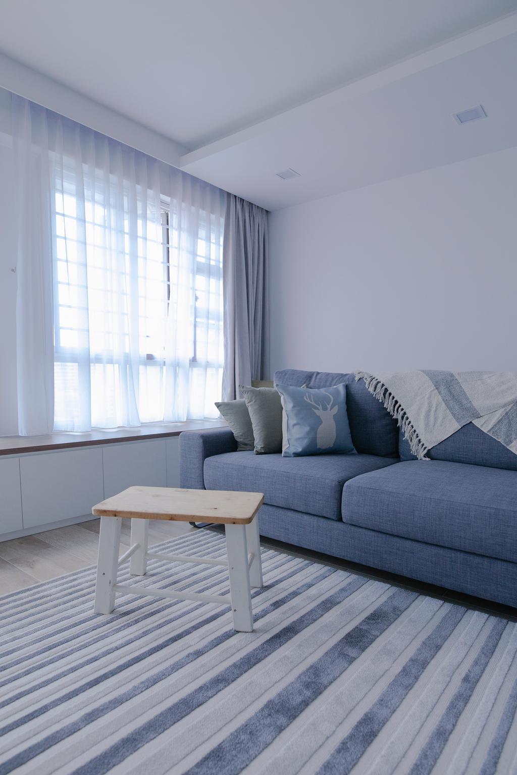 Scandinavian, HDB, Living Room, Upper Serangoon Crescent, Interior Designer, The Local INN.terior 新家室, Minimalistic, Chair, Furniture, Couch