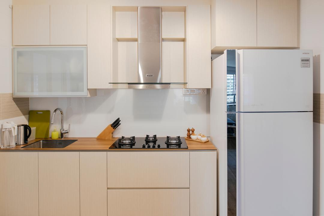 Upper Serangoon Crescent, The Local INN.terior 新家室, Scandinavian, Minimalistic, Kitchen, HDB, White Refrigerator, , Kitchen Cupboard, Wall Mounted Kitchen Cupboar, Kitchen Stove, Wooden Surface, Appliance, Electrical Device, Fridge, Refrigerator, Sink, Indoors, Interior Design, Room