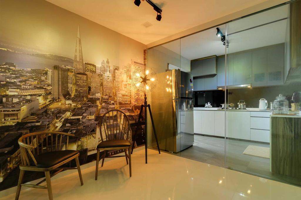 Modern, HDB, Kitchen, Jurong West, Interior Designer, Starry Homestead, Featured Wall, Glass Doors, Tiles, Wood, Tripod, Chair, Furniture, Dining Table, Table, Dining Room, Indoors, Interior Design, Room, Bench