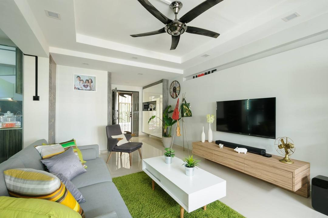 Jurong West, Starry Homestead, Modern, Living Room, HDB, Wood Console, Grass Carpet, White Walls, Indoors, Room
