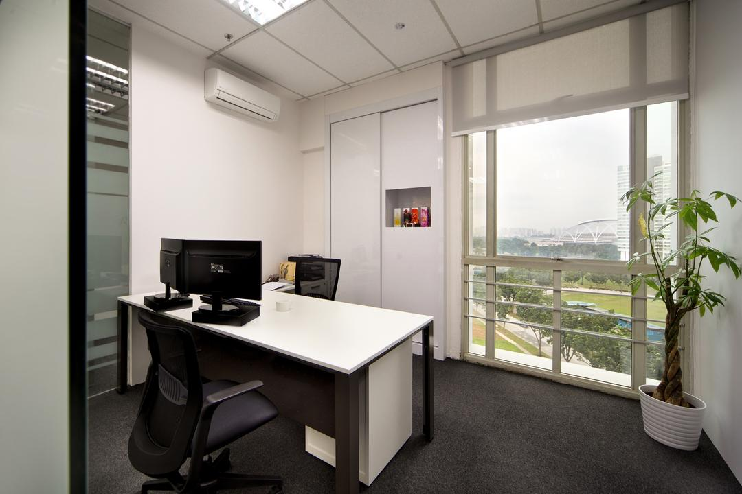 Innova Office (Kallang), Boon Siew D'sign, Modern, Commercial, Cabin, Office, Workspace, Work, Black White Theme, Bonsai, Flora, Jar, Plant, Potted Plant, Pottery, Tree, Vase, Chair, Furniture