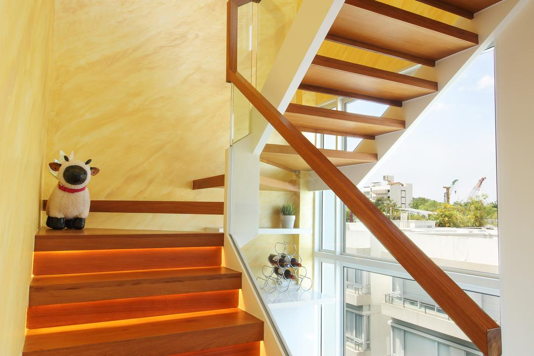 Suites@Orchard, Dap Atelier, Modern, Living Room, Condo, Wooden Staircase, Marble Wall, Banister, Handrail, Staircase