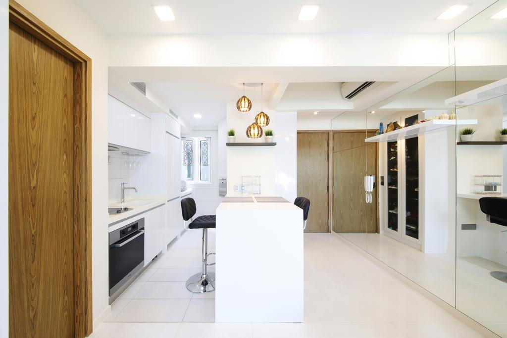 Modern, Condo, Dining Room, Suites@Orchard, Interior Designer, Dap Atelier, Dining Table, Dining Chair, Hanging Lights, Wall Mounted Kitchen Cupboards, Wooden Door, Air Condition, Pendant Lights, Built In Shelves, Wall Mounted Ledge, Indoors, Interior Design