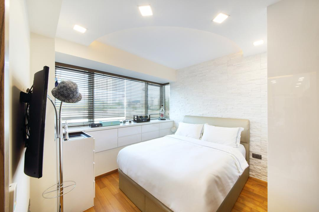 Suites@Orchard, Dap Atelier, Modern, Bedroom, Condo, King Size Bed, Roll Up Curtains, Glass Window Panels, Wooden Floor, Wall Mounted Television, Marble Wall, Cupboard, Cushioned Panel, Recessed Lights, Bed, Furniture, Indoors, Interior Design, Room