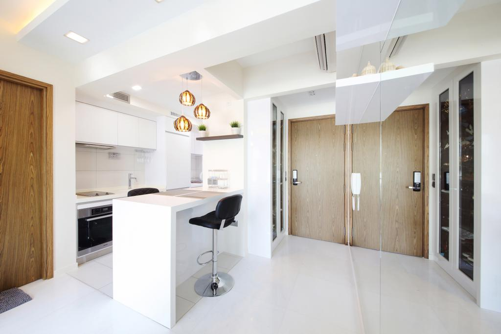 Modern, Condo, Kitchen, Suites@Orchard, Interior Designer, Dap Atelier, Appliance, Electrical Device, Oven, Bar Stool, Furniture, Indoors, Interior Design