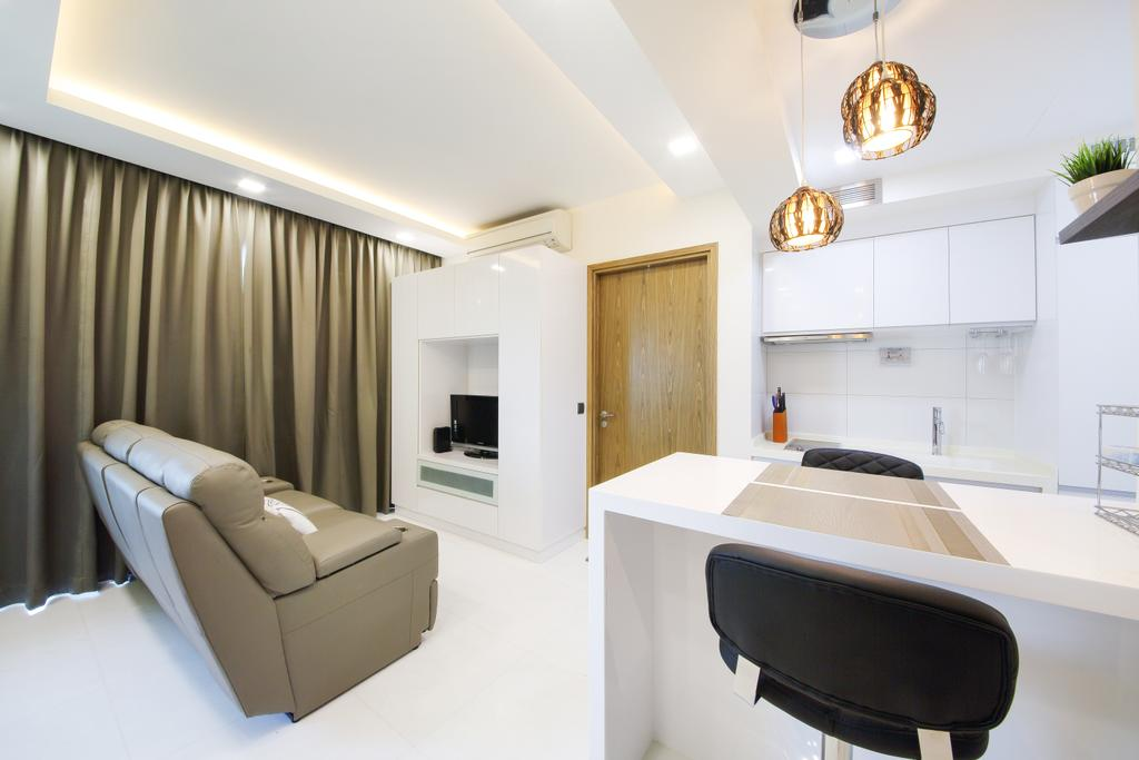 Modern, Condo, Living Room, Suites@Orchard, Interior Designer, Dap Atelier, Sling Curtains, Sofa, Hanging Lights, Wooden Door, Marble Floor, Wall Mounted Cupboard, Recessed Lights, Television, Pendant Lights, Indoors, Interior Design, Chair, Furniture