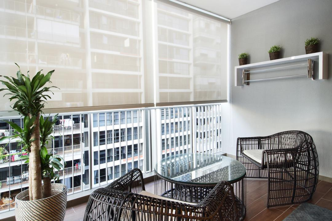 Twin Waterfalls, Dap Atelier, Contemporary, Balcony, Condo, Wall Mounted Shelves, Haiku Fan, Wooden Floor, Glass Panelled Windows, Roller Blinds, Big Balcony, Wood Decking, Outdoor Furniture, Cane Furniture, Arecaceae, Flora, Palm Tree, Plant, Tree, Chair, Furniture, Jar, Potted Plant, Pottery, Vase, Indoors, Interior Design