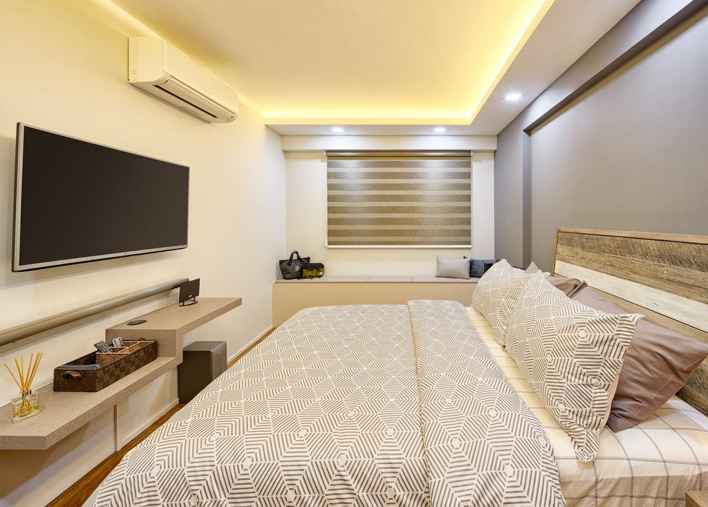 Minimalistic, HDB, Bedroom, Fajar Hills, Interior Designer, Absolook Interior Design, Scandinavian, King Size Bed, , Recessed Lights, Hidden Interior Lighting, Wall Mounted Television, Air Condition, Wooden Panel, Wall Mounted Wooden Ledge, Cozy, Relax, Comfortable, White Wall, Grey Wall, Indoors, Room, Corridor
