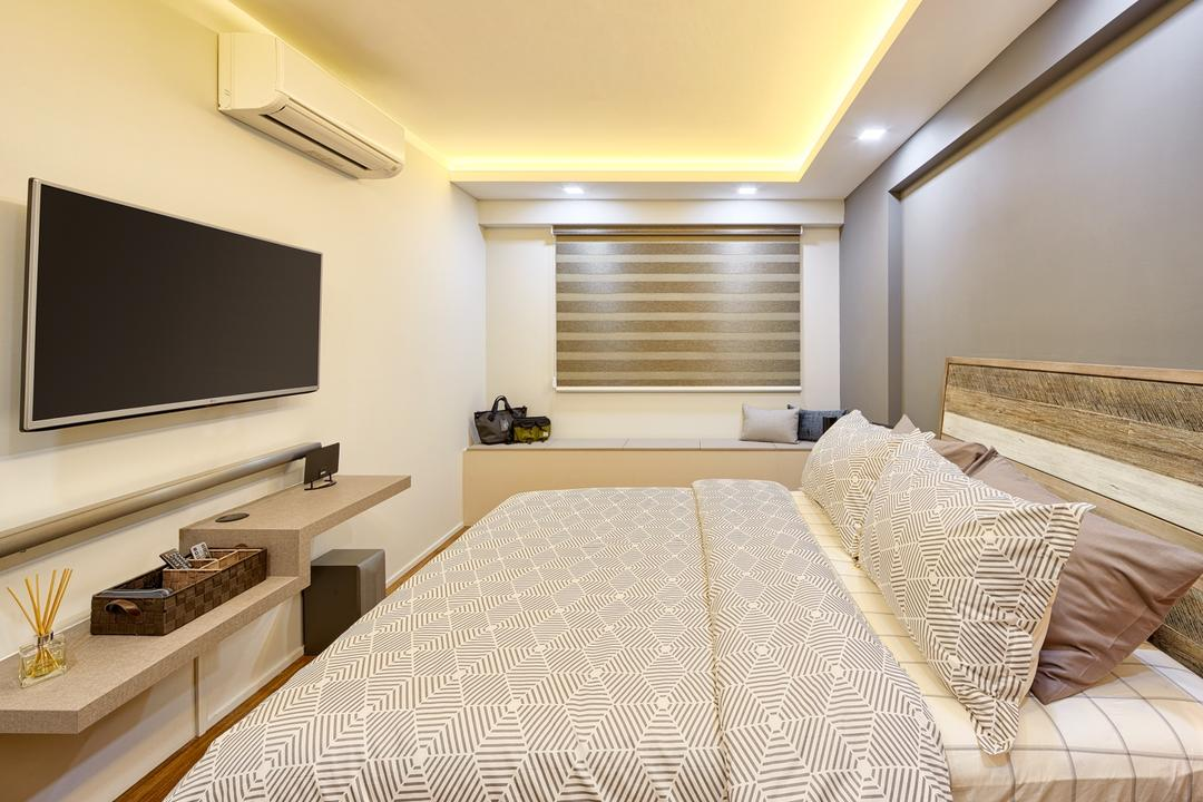 Fajar Hills, Absolook Interior Design, Minimalistic, Scandinavian, Bedroom, HDB, King Size Bed, , Recessed Lights, Hidden Interior Lighting, Wall Mounted Television, Air Condition, Wooden Panel, Wall Mounted Wooden Ledge, Cozy, Relax, Comfortable, White Wall, Grey Wall, Indoors, Room, Corridor