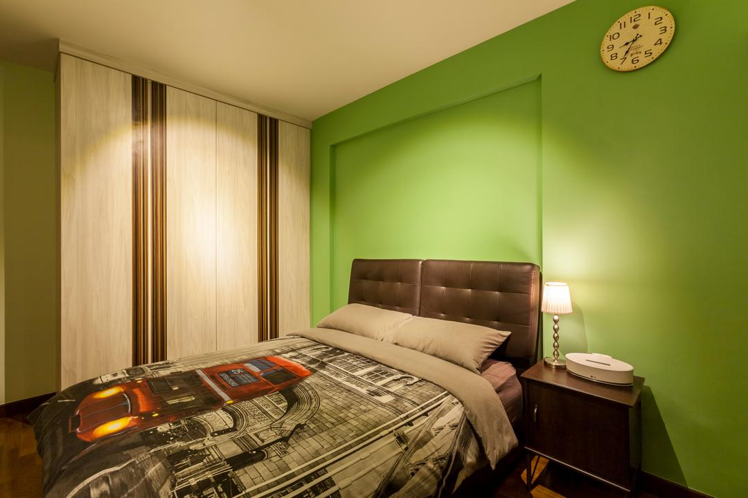 Yung Kuang Road (Block 175A), Absolook Interior Design, Scandinavian, Bedroom, HDB, Green Wall, Wall Mounted Clock, King Size Bed, Cushioned Panel, Wall Mounted Wooden Table, Mini Lamp, Wooden Wadrobe, Cozy, Comfortable, Chill, Relax, Indoors, Interior Design, Room, Bed, Furniture
