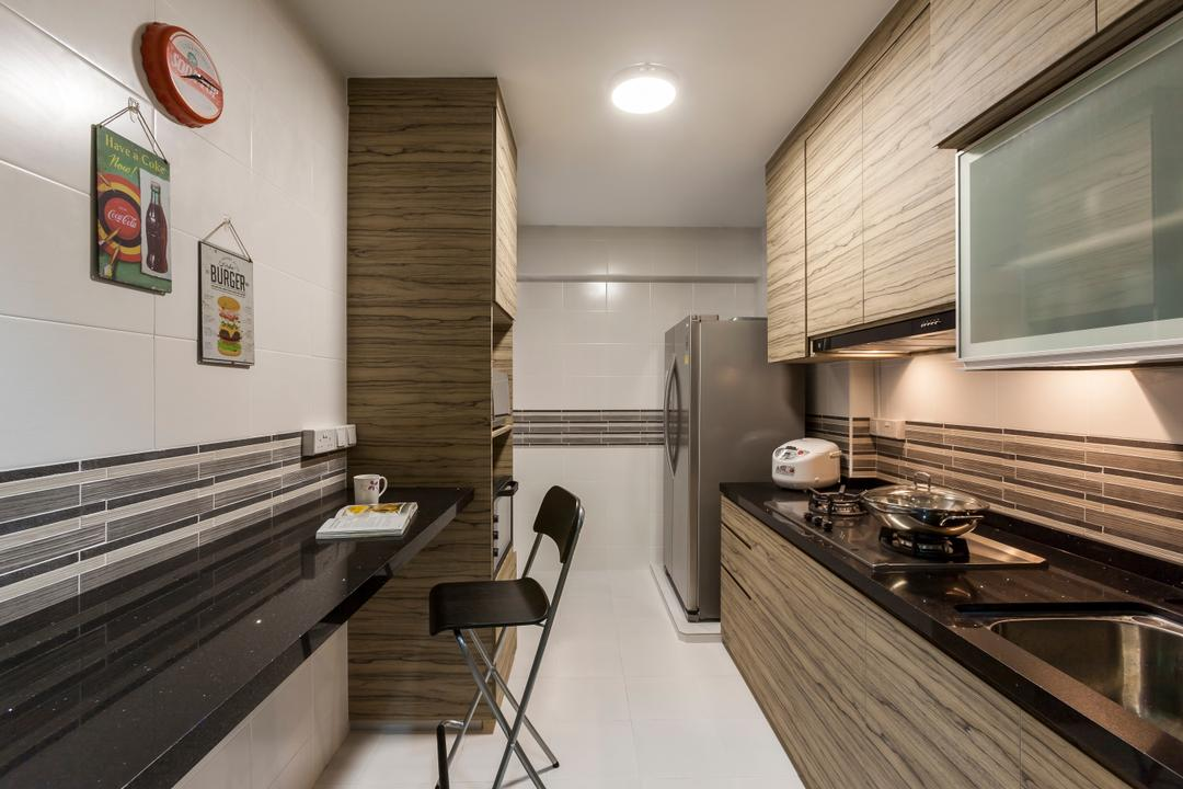 Yung Kuang Road (Block 175A), Absolook Interior Design, Scandinavian, Kitchen, HDB, Wall Mounted Wooden Cabinet, Wooden Kitchen Cabinet, Wall Mounted Marble Ledge, Dining Chair, Wall Mounted Clock, Picture Frame, Recessed Light, Refrigerator, Kitchen Sink, Kitchen Stove, Wooden Cabinet With Marble Top, Chair, Furniture, Bench