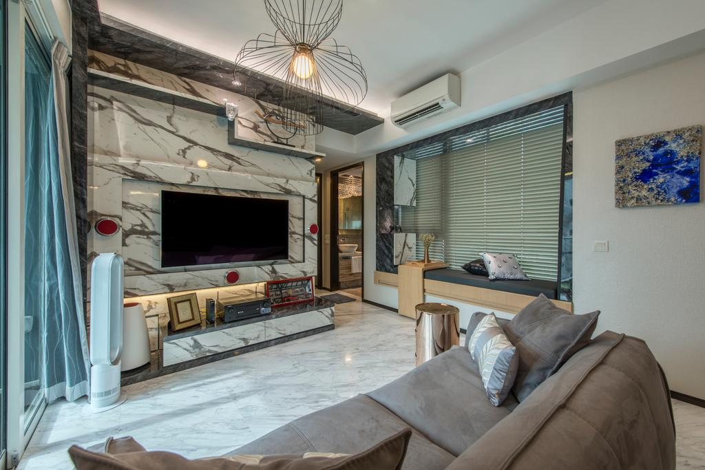 Modern, Condo, Living Room, The Vision, Interior Designer, Starry Homestead, Marble Floor, Marble War, Hanging Lights, Artistic Patterns, Artistic Deisgns, Wall Mounted Television, In Built Shelf, Spacious, Cozy, Relax, Chill, Hidden Interior Lighting, Roll Down Curtain, Picture Frame, Sofa, Air Condition, Couch, Furniture, Plywood, Wood