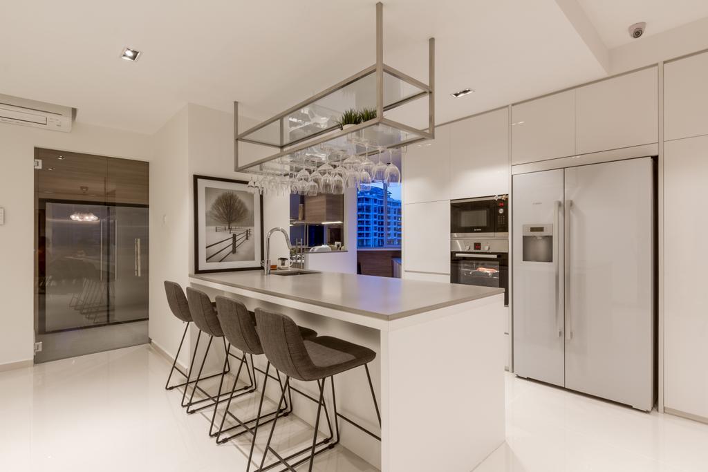 Modern, Condo, Kitchen, Elizabeth Heights, Interior Designer, Fineline Design, Contemporary, Chair, Furniture, Appliance, Electrical Device, Fridge, Refrigerator