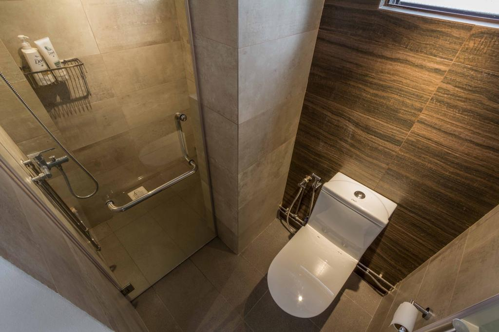 Modern, HDB, Bathroom, Toa Payoh Lorong 7, Interior Designer, Fineline Design, Wooden Wall, Ceramic Floor, Toilet, Shower, Sink, Indoors, Interior Design, Room
