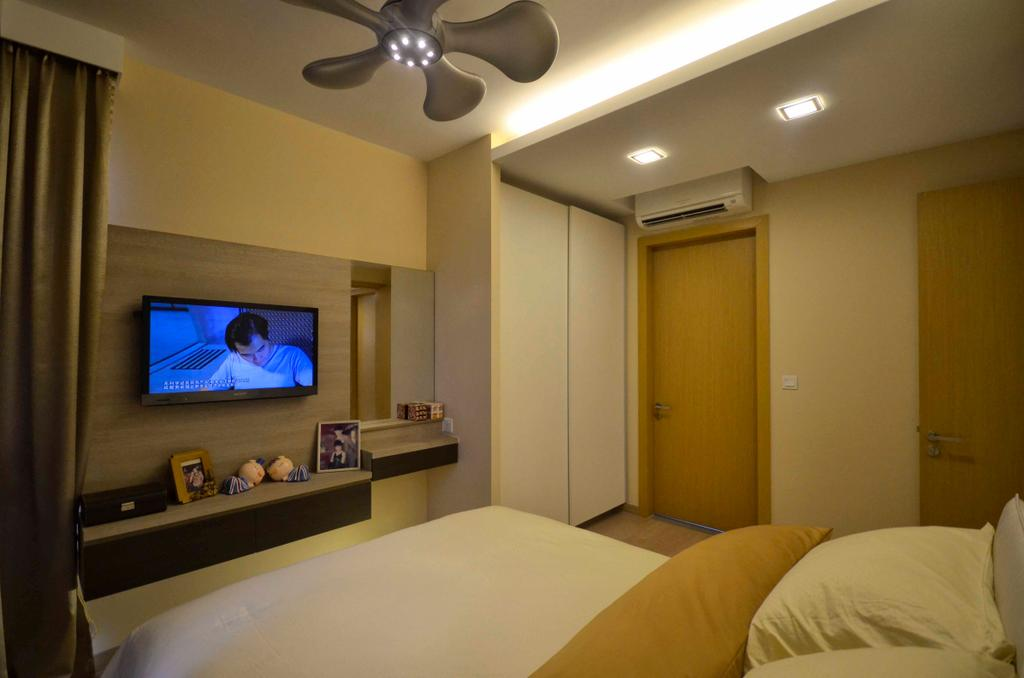 Traditional, Condo, Bedroom, Sengkang East, Interior Designer, DreamCreations Interior, Cove Light, Concealed Lighting, Concealed Light, White Wall, Console, Laminate, Indoors, Room, Bed, Furniture