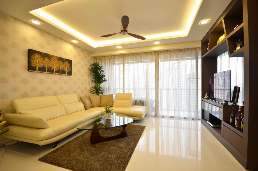 Traditional, Condo, Living Room, Sengkang East, Interior Designer, DreamCreations Interior, Wallpaper, Cove Light, Concealed Lighting, Concealed Light, Wooden Laminate, Coffee Table, Glass Table, Leather Sofa, Curtains, Carpet, Couch, Furniture, Indoors, Interior Design, Room