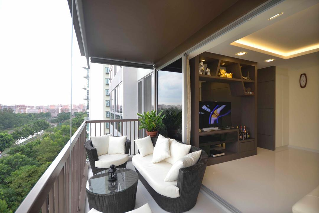 Sengkang East, DreamCreations Interior, Traditional, Balcony, Condo, Blinds, Wooden Furniture, Balcony Table, Balcony Chairs