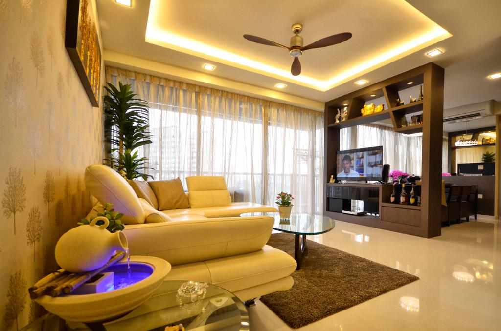 Traditional, Condo, Living Room, Sengkang East, Interior Designer, DreamCreations Interior, Concealed Lighting, Cove Light, Concealed Light, Wall Art, Painting, Carpet, Laminate, Console, Wood Laminate, Flora, Jar, Plant, Potted Plant, Pottery, Vase, Couch, Furniture, Indoors, Interior Design