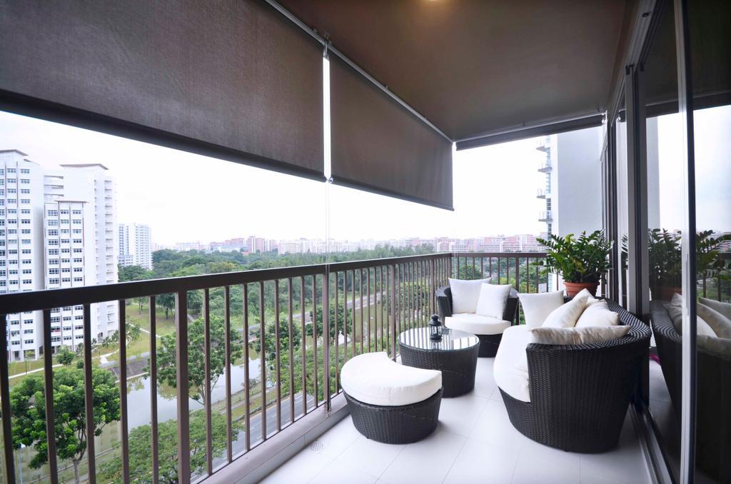 Traditional, Condo, Balcony, Sengkang East, Interior Designer, DreamCreations Interior, Outdoor, Balcony Furniture, Blinds, Flora, Jar, Plant, Potted Plant, Pottery, Vase