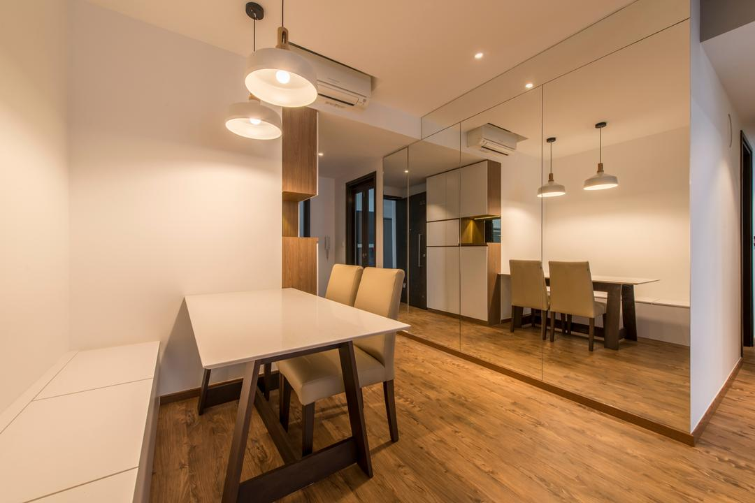 Heron Bay, The Two Big Guys, Scandinavian, Dining Room, Condo, Window Panels, , Hanging Lights, Pendant Lights, Mirror, Dining Chair, Dining Table, Wooden Floor, Air Condition, Couch, Furniture, Table, Flooring, HDB, Building, Housing, Indoors, Loft, Chair, Interior Design, Room
