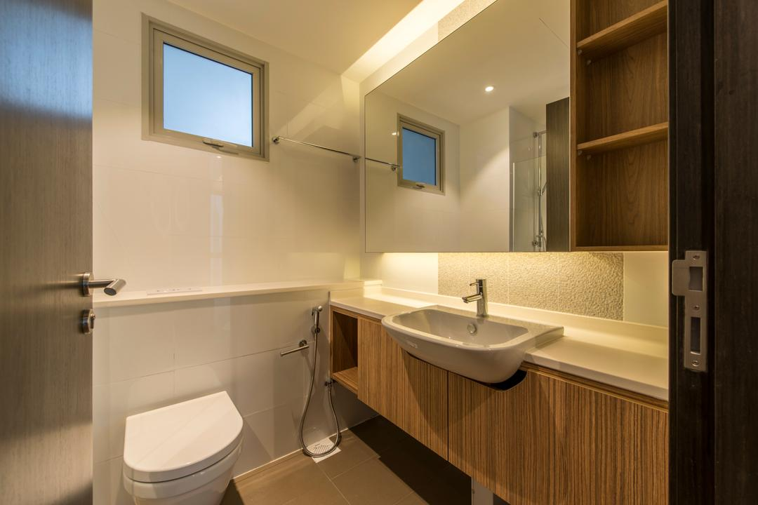 Heron Bay, The Two Big Guys, Scandinavian, Bathroom, Condo, Window Panel, Hidden Interior Lighting, Toilet, Toilet Sink, Wall Mounted Wooden Cabinet With White Marble Top, Wall Mounted Mirror, Ceramic Wall, Indoors, Interior Design, Room