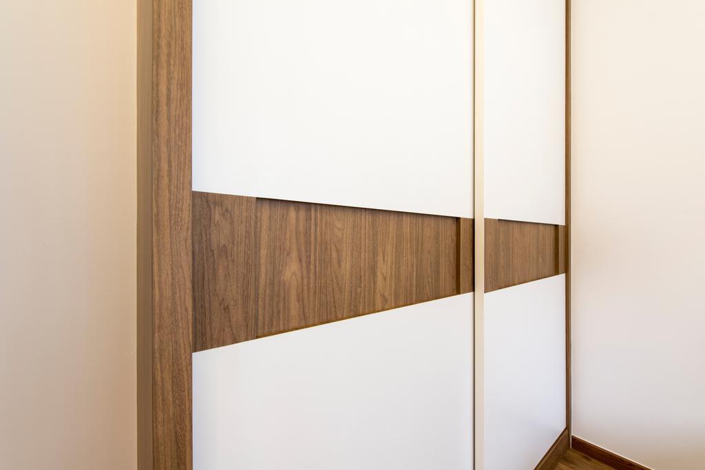 Scandinavian, Condo, Bedroom, Heron Bay, Interior Designer, The Two Big Guys, Sliding Door Wadrobe, Wooden And White Marble Wadrobe, Shelf