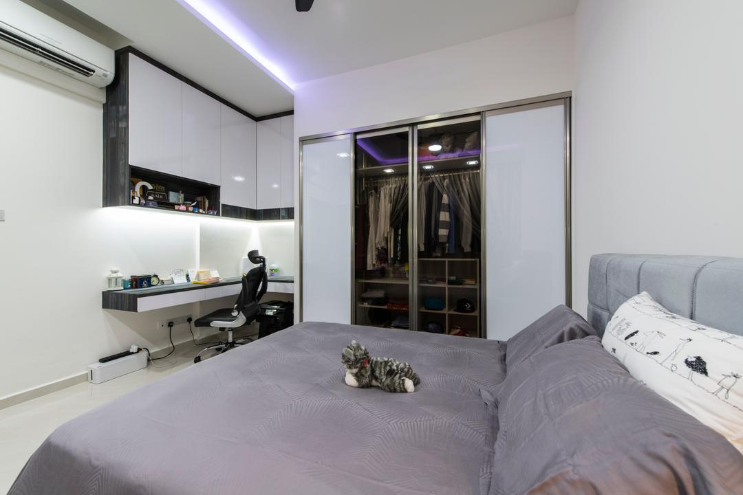 The Sterling, Project Guru, Modern, Bedroom, Condo, Cove Lights, Study Desk, Black Roller Chair, Sliding Door Wardrobe, Indoors, Room