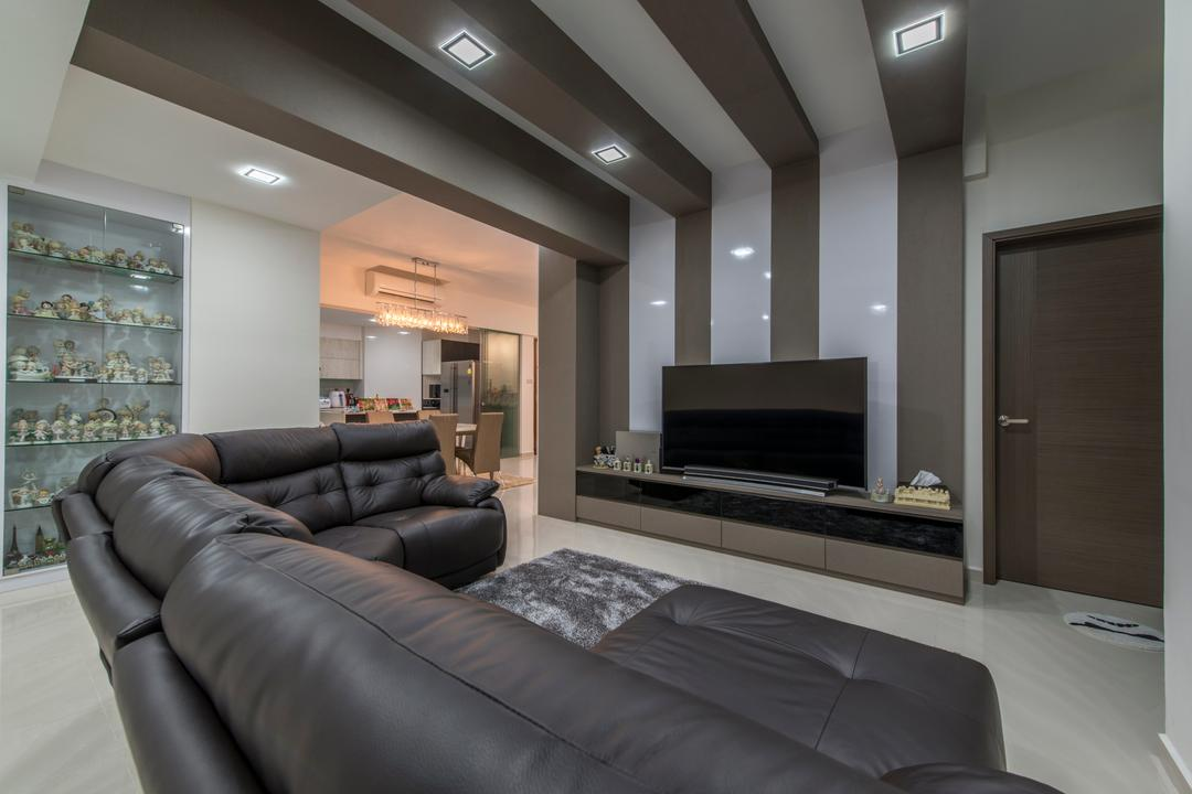 The Sterling, Project Guru, Modern, Living Room, Condo, Ceiling Beam, Dark Brown Leather Sofa, Down Lights, Brown Tv Console, Marble Floor, Glass Shelf Display, Couch, Furniture, Door, Sliding Door