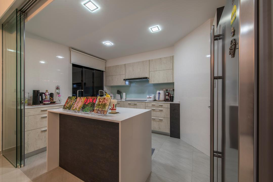 The Sterling, Project Guru, Modern, Kitchen, Condo, Down Lights, Island Table, Marble Floor, Open Kitchen, Glass Partition