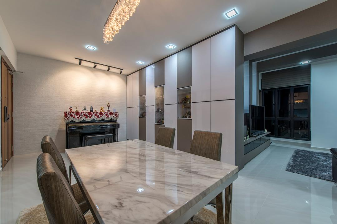 The Sterling, Project Guru, Modern, Dining Room, Condo, Black Track Lights, Marble Table, Marble Floor, Shoes Case, Down Light, Plywood, Wood, Chair, Furniture, Bench, Indoors, Interior Design, Room, Fireplace, Hearth, Dining Table, Table