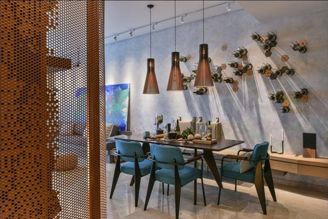 Damansara City - Type A2, Metrics Global Sdn Bhd, Minimalistic, Dining Room, Condo, Chair, Furniture, Dining Table, Table, Indoors, Interior Design, Room, Leisure Activities, Lute, Music, Musical Instrument