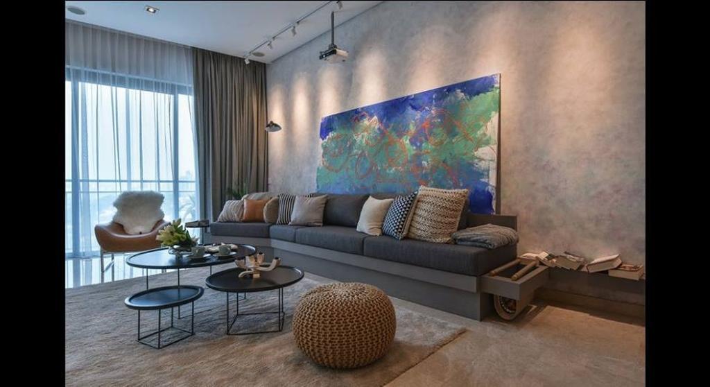 Minimalistic, Condo, Living Room, Damansara City - Type A2, Interior Designer, Metrics Global Sdn Bhd, Couch, Furniture, Table, Indoors, Room, Chair
