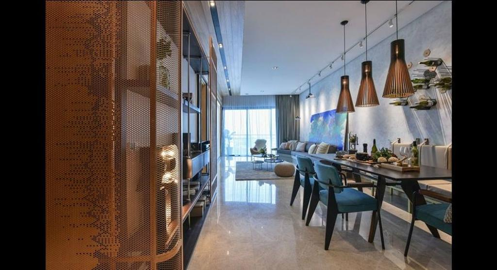 Minimalistic, Condo, Dining Room, Damansara City - Type A2, Interior Designer, Metrics Global Sdn Bhd, Dining Table, Furniture, Table, Restaurant, Indoors, Interior Design, Room