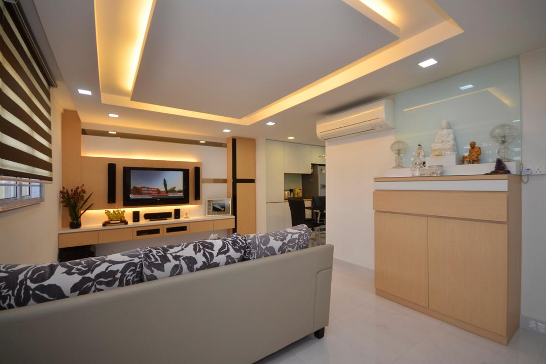 Bedok (Block 112), DreamCreations Interior, Traditional, Living Room, HDB, Blinds, Sofa, Recessed Ceiling, Skylight, Concealed Lighting, False Ceiling, Electronics, Entertainment Center, Home Theater