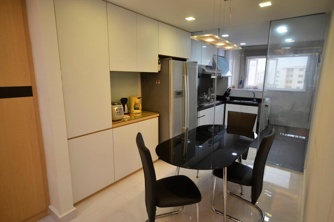 Bedok (Block 112), DreamCreations Interior, Traditional, Dining Room, HDB, Glass Partition, White Laminate, Laminate, Glass Door, Chair, Furniture, Aircraft, Airplane, Transportation, Building, Housing, Indoors, Interior Design, Room, Bathroom, Lighting