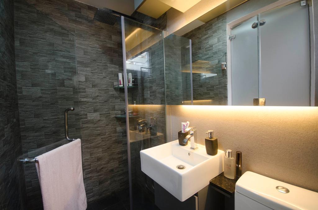 Traditional, HDB, Bathroom, Bedok (Block 112), Interior Designer, DreamCreations Interior, Bathroom Tiles, Concealed Lighting, Concealed Light, Sink, Towel, Indoors, Interior Design, Room