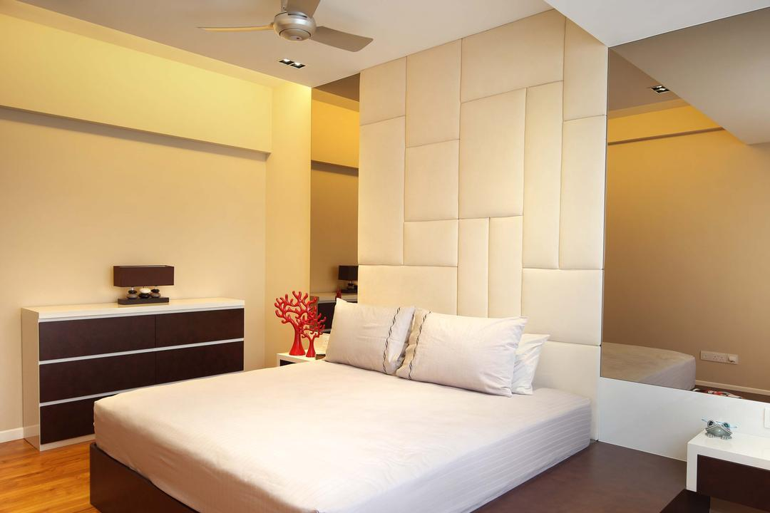 Pavilion Place, Space Define Interior, Modern, Bedroom, Landed, High Headboard, Raised Step, Elevated, Mirror, Cushioned Headboard, Wooden Flooring, Parquet, Bedside Table, Platform Bed, Concealed Lighting, Concealed Light, Recessed Lighting, Recessed Light, Chest Of Drawers, Bed, Furniture, Sink