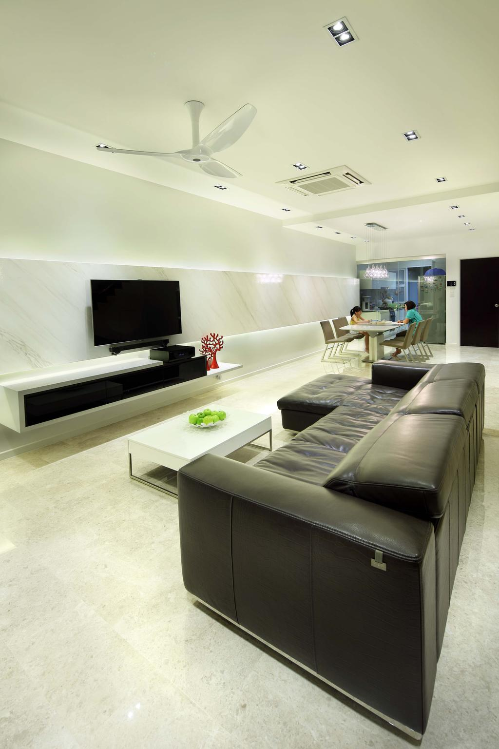 Modern, Landed, Living Room, Pavilion Place, Interior Designer, Space Define Interior, Marble, Floor, Black Sofa, Leather, Tv Console, Recessed Lighting, White Fan, White Coffee Table, Marble Feature Wall, Couch, Furniture, Electronics, Lcd Screen, Monitor, Screen